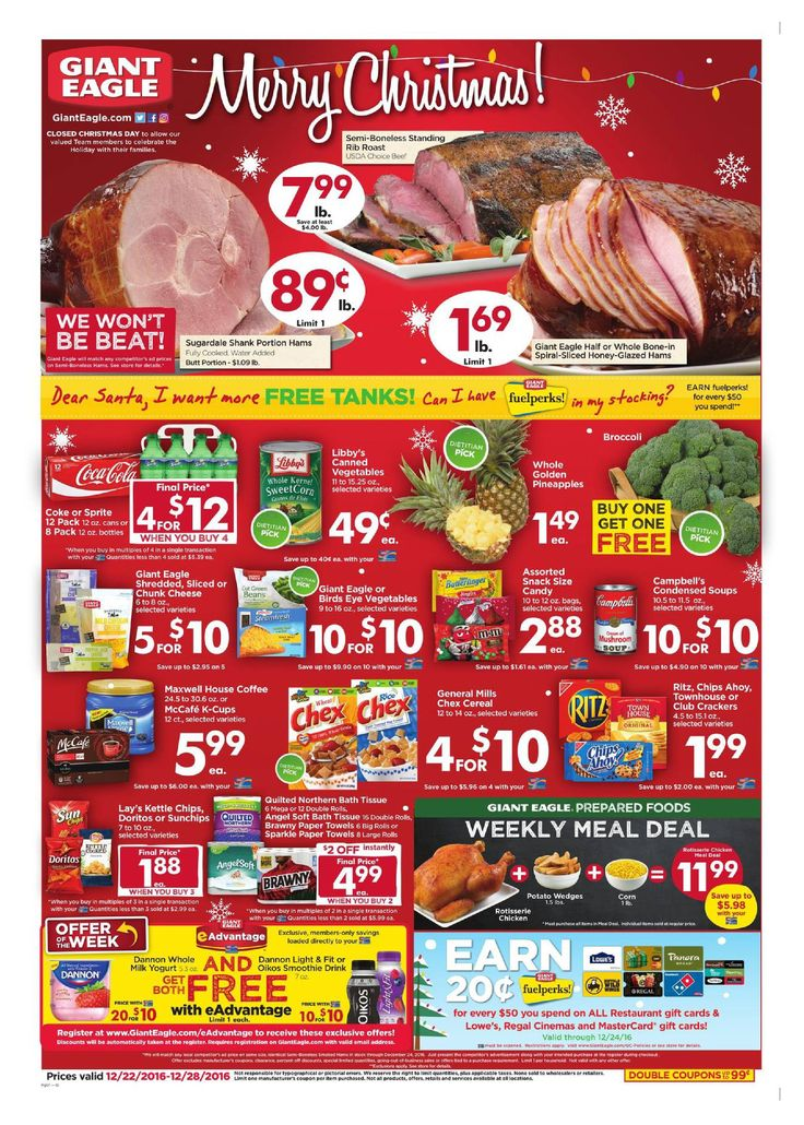 Giant Eagle Weekly Ad December 22 -28, 2016 - http://www.olcatalog.com/grocery/giant-eagle-weekly-ad.html