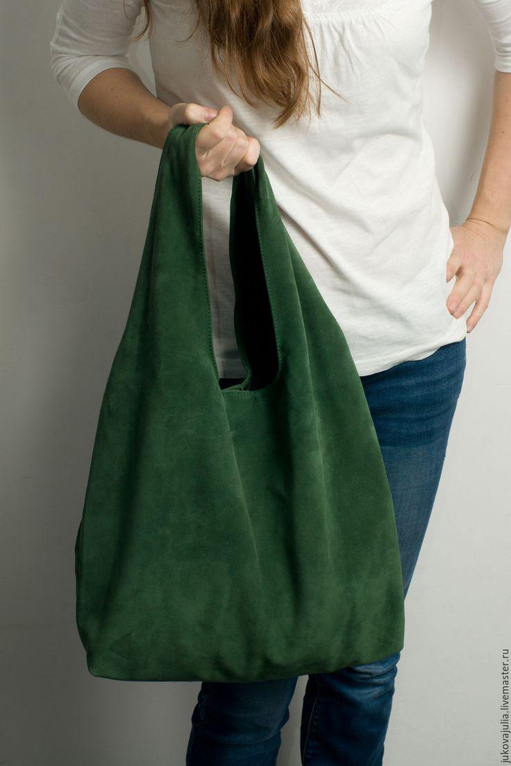 Купить Сумка из натуральной кожи замши спилок изумрудная зеленая травяная - тёмно-зелёный, однотонный