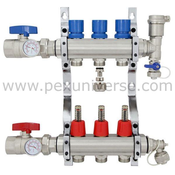 "3-branch Brass Radiant Heat Manifold Set W/ 1/2"" PEX"