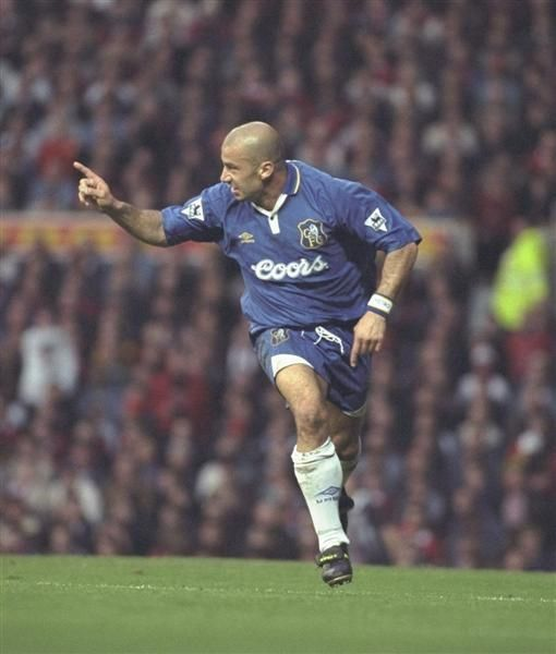 2 November 1996: GIANLUCA VIALLI celebrates scoring the second goal during the FA Carling Premier league match between Manchester United and Chelsea at Old Trafford. CHELSEA won the match 2-1...