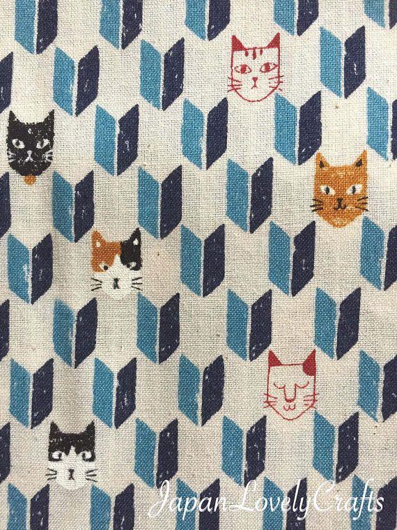 Japanese Cotton Fabric, Kawaii Cats & Traditional Yagasuri, Animal Print Fabric, Half Yard / 50cm, Sewing Supply, Blue, JapanLovelyCrafts