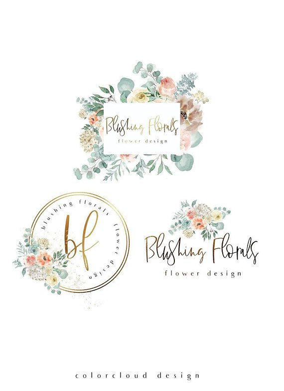 Flower logo design gold logo premade logo photography logo branding kit blush florals logo boutique logo round logo modern business logo