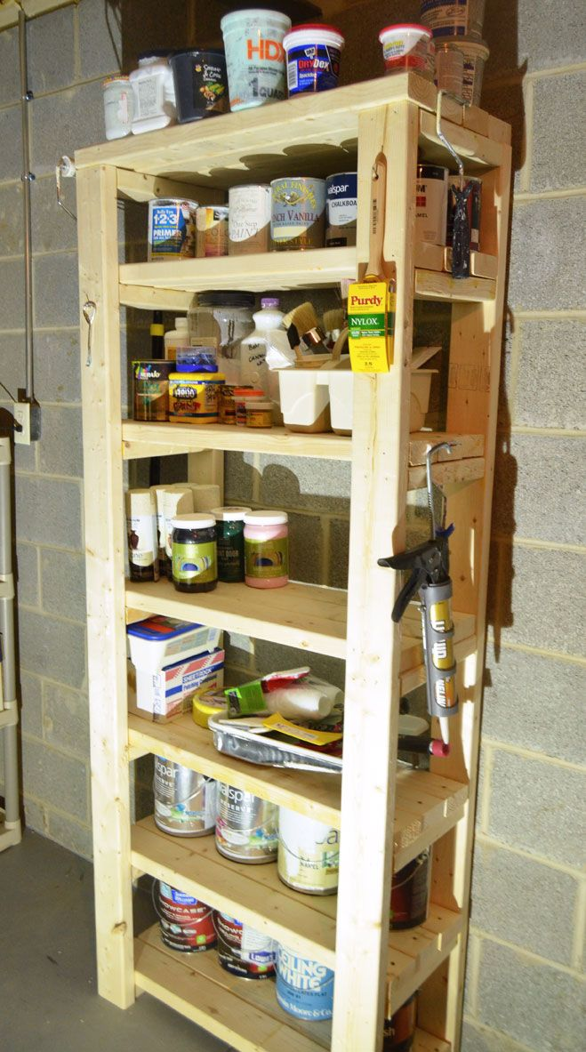 How to built a paint storage shelf with 2x4s