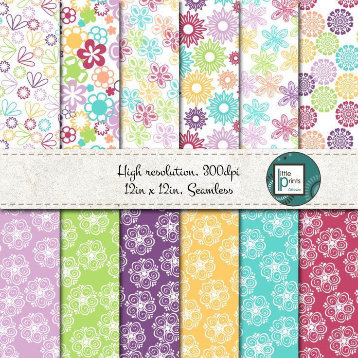 Digital Paper - Bright Floral, Digital scrapbook paper, flower scrapbook paper, seamless digital paper, bright flower paper, colorful flower by LittlePrintsOttawa on Etsy