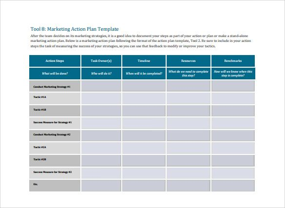 Marketing Action Plan Template Free With Images Action Plan