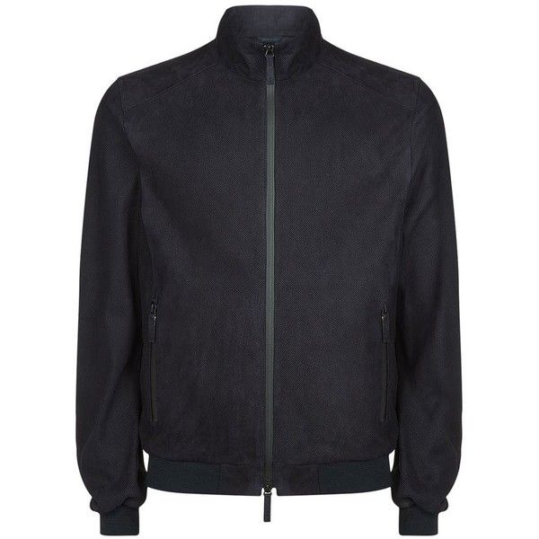 Armani Collezioni Suede Bomber Jacket (€1.300) ❤ liked on Polyvore featuring men's fashion, men's clothing, men's outerwear, men's jackets, mens suede bomber jacket, mens suede leather jacket, mens leopard print jacket and mens suede jacket