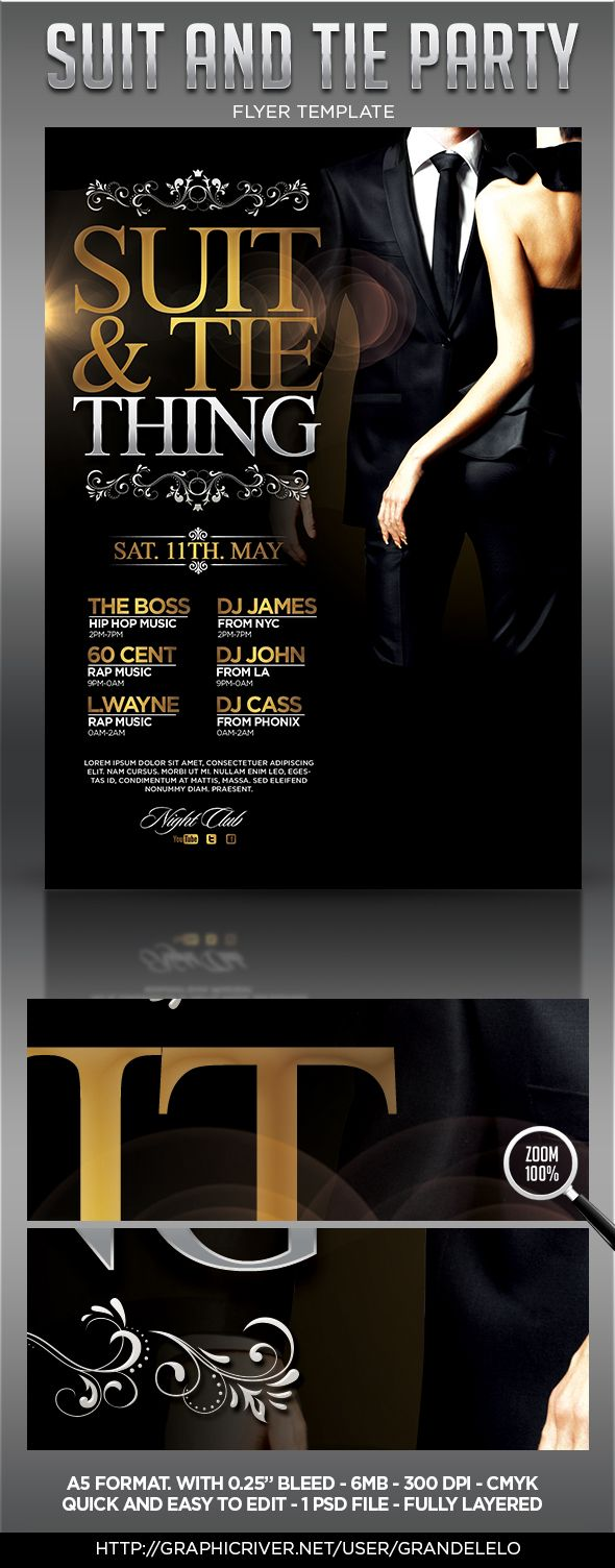 Suit and Tie - The Party Flyer Template by Grande Lelo, via Behance
