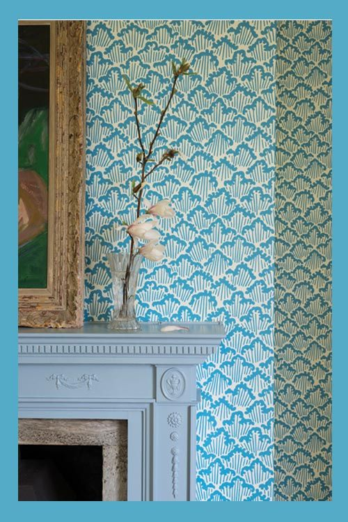 Farrow U0026 Ball Wallpaper, Aranami BP 4604 (with Lulworth Blue Paint On The  Woodwork).