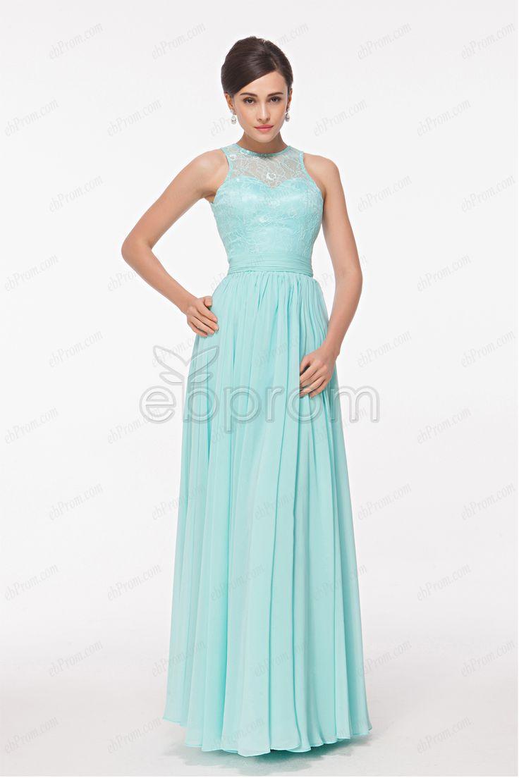 Elegant High Neck Lace Blue Prom Dresses long light aqua bridesmaid dresses formal dresses plus size evening
