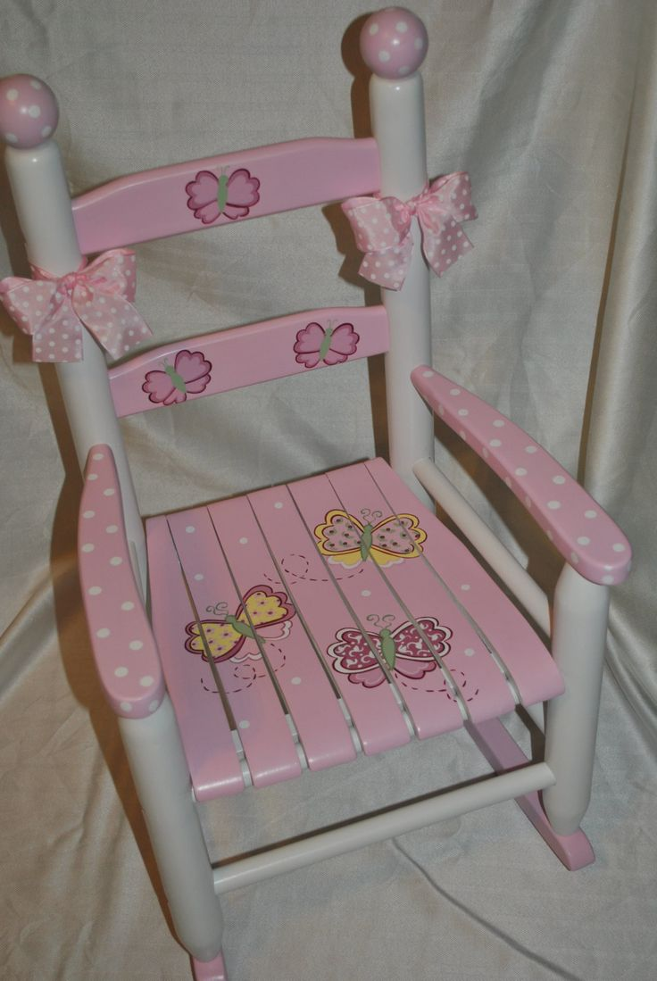 Baby shower rocking chair - Childrens Custom Hand Painted Whimsical Pink Butterfly Kids Rocking Chair Baby Shower Gift Nursery Furniture Painted Child Chair Baby Gift