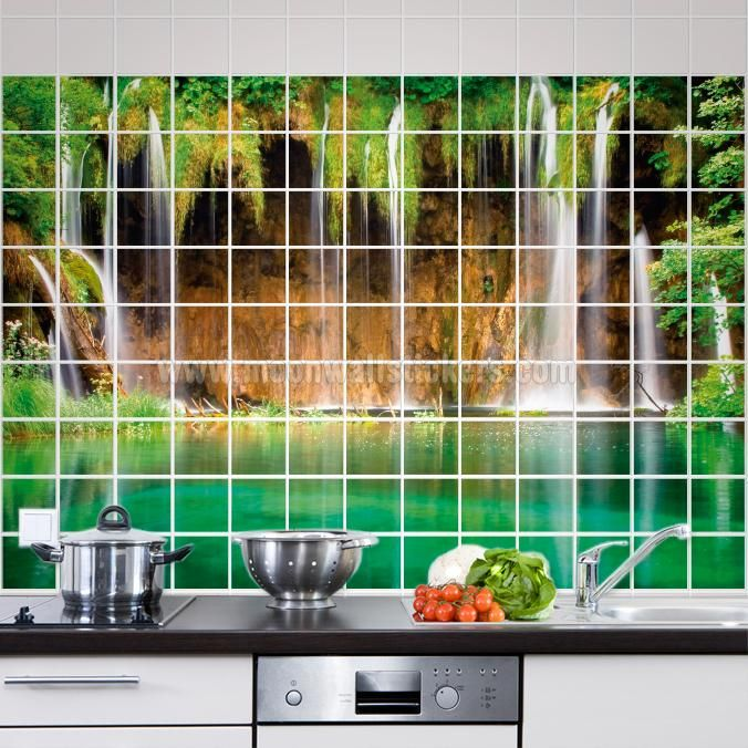 Green Lake Waterfall Tile Murals - If you are the kind of person that are looking for a piece of art in your Kitchen Tile Wall or Bathroom Tile Wall apply this Green Lake Waterfall Tile Murals is the perfect choice. #Tiles #Murals #Decals #Covers #Photos #Stickers #Lake #Waterfall