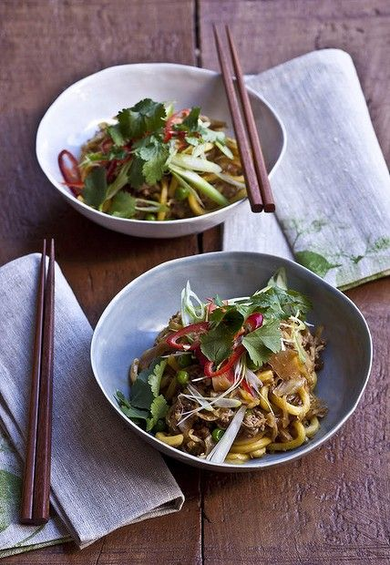 Karen Martini's chow mein-style pork with cabbage, peas and hokkien noodles. Photo: Marina Oliphant