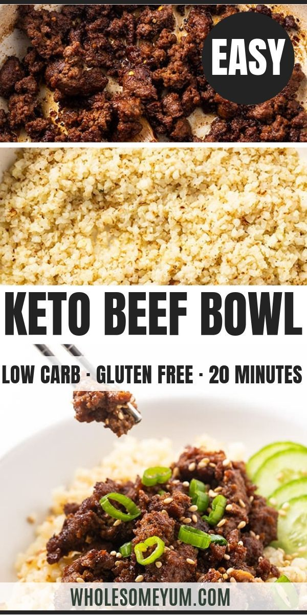 Easy Keto Korean Ground Beef Bowl Recipe In 2020 Beef Bowl Recipe Ground Beef Bowl Recipe Delicious Healthy Recipes