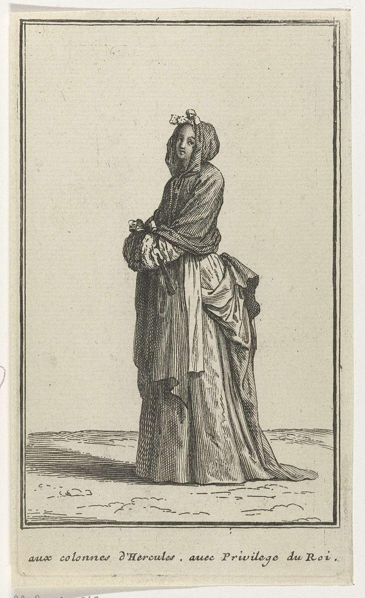 Dame in eigentijdse kleding, waaier in de hand, Jean Mariette, 1696