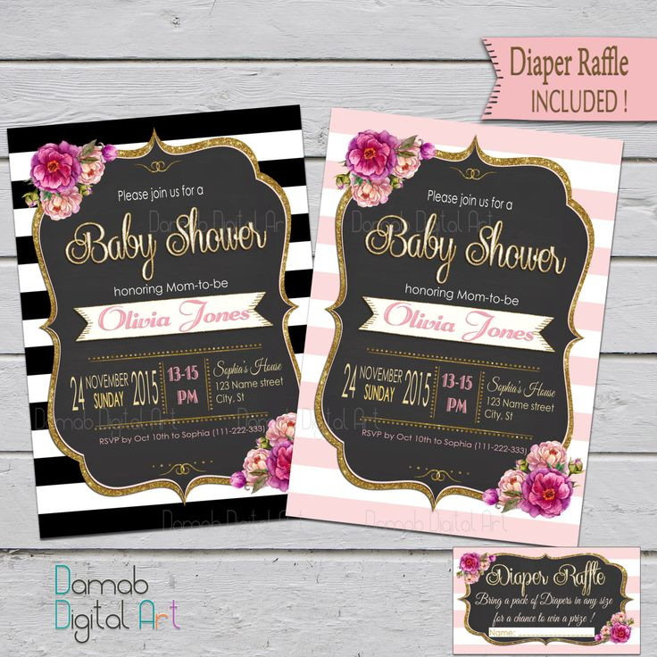 baby shower invitation wording for bringing diapers%0A Baby Shower invitation girl  Girl Baby Shower  Pink and Gold Baby Shower  invitation