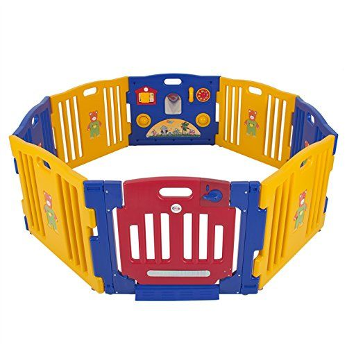 #manythings.online #This play-pen features a picture house, ball spinners, play telephone, and a swinging hinged door with #safety lock. The size of this playpen ...