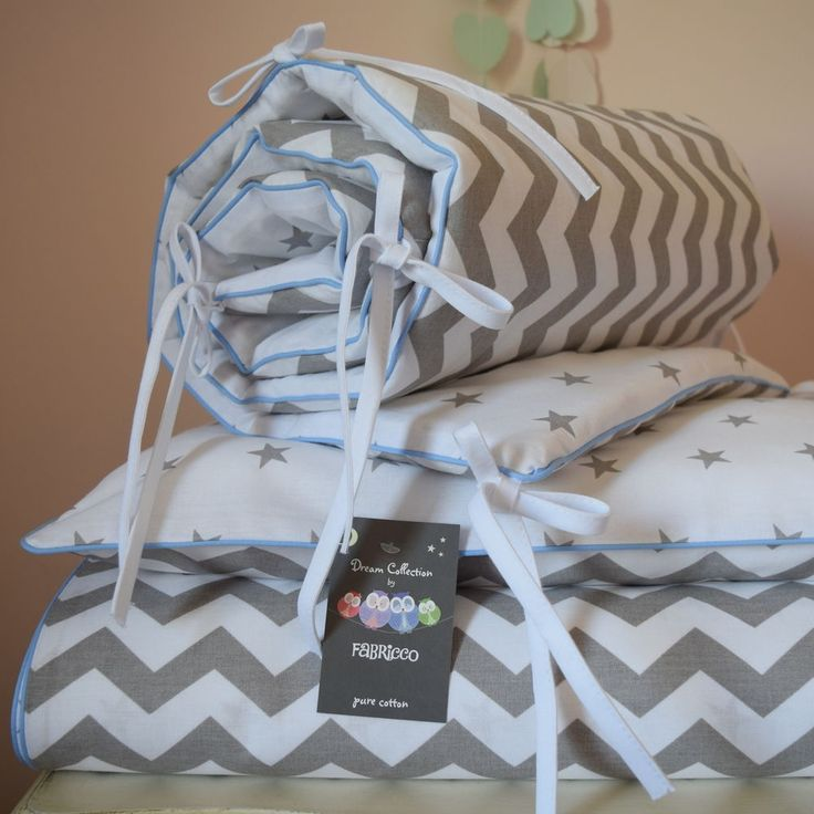 This cot bed set is made from very good quality 100% cotton fabric. Cot Bed Duvet Cover Set. Cot Bed fitted sheet - fully elasticated 70 x 140 x 10 cm. COT BED SET WITH FITTED SHEET. Colour: Grey And White, stars & chevron on the reverse, Baby Blue Piping. | eBay!
