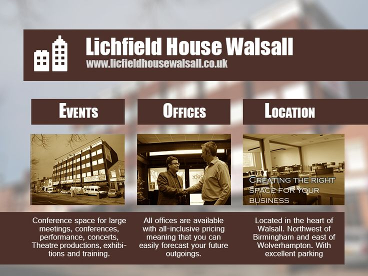 Lichfield House  We spent time tweaking the website and producing these flyers.   Offices space still available