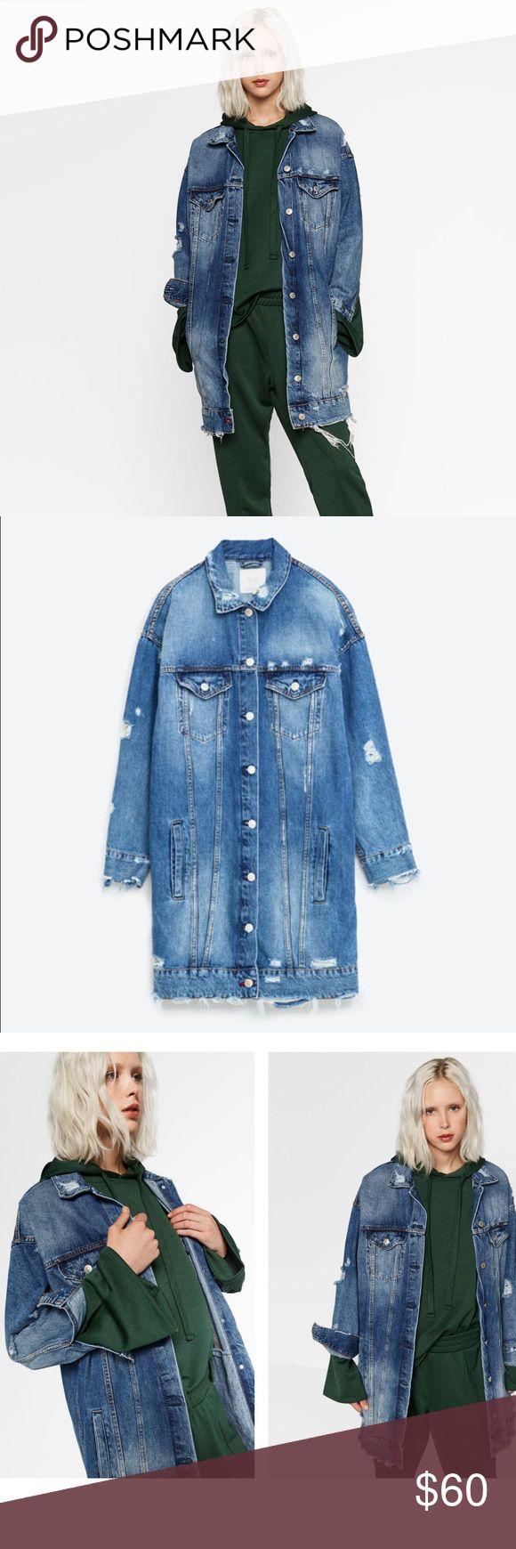 Oversized distressed denim jacket! Denim distressed jacket, oversized boyfriend style, size small! Jackets & Coats Jean Jackets