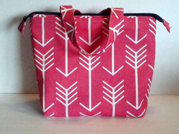 Lunch Bag, Adult Lunch Tote Bag, Insulated Lunch Bag, Womens Lunch Bag, Zipper Top, Inside Pockets, Hot Pink Arrow Print, Ready To Ship