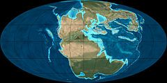Triassic: geologic period from 250-200 May; first period of Mesozoic Era; between Permian and Jurassic Periods; both start and end marked by major extinction events