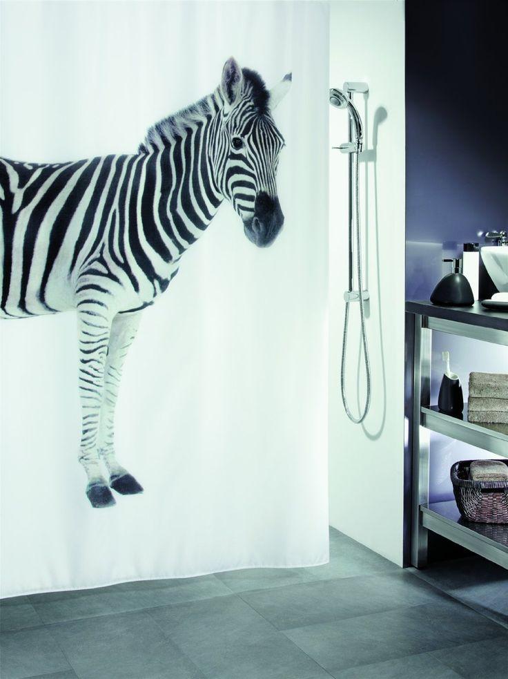 Rideau de Douche Zebra Black Textile 180 x 200