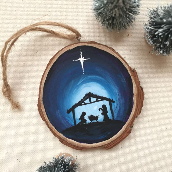 Jesus Ornament, Nativity Silhouette Wood Slice Ornament by BreadPlease on Etsy https://www.etsy.com/listing/492831019/jesus-ornament-nativity-silhouette-wood
