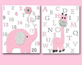 Rose gris éléphant girafe Alphabet chiffres toile impression bébé crèche Decor enfants Art Kids Art bébé fille chambre décoration murale lot de 2