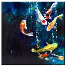 Xdr404 2017 настенная живопись оранжевые цветы кои рыба натюрморт 1 шт. дома ROM Настенный декор современного искусства стены Печать на холсте unfr(China (Mainland))