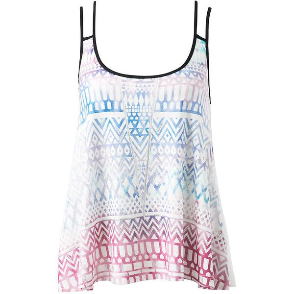 Forever New Andie Swing Cami ($22) ❤ liked on Polyvore featuring tops, tank tops, shirts, tanks, aztec print shirt, aztec shirt, pattern shirt, print tank and cami tank tops