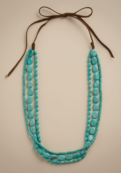 Turquoise long multi strand necklace from Lucky Brand $65