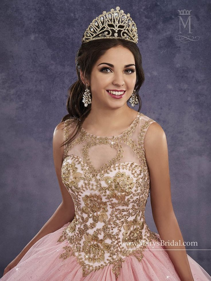 Elegant and beautiful, you'll love wearing Mary's Bridal Princess Collection Quinceanera Dress Style 4Q496 at your Sweet 15 party or at any formal event. Sparkling tulle quinceanera ball gown with a scoop neck bodice embellished with embroidery, basque waist line, and back with opening and lace-up closure.  Colors: Gold, Pink, Wine, or White  Please allow 4 - 5 months for delivery because Mary's Bridal Quinceanera dresses are made-to-order. If you want to put this ball gown on Layaway…