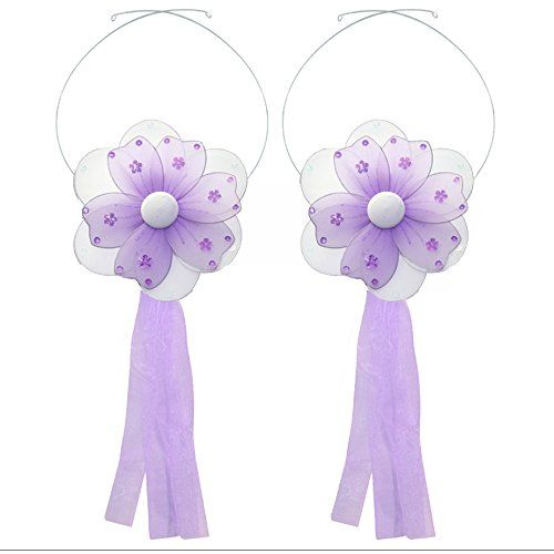 Window treatment curtain tiebacks - adorable nylon flowers and ribbons perfect to tie back any sheer curtains