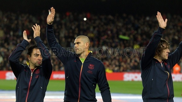 Xavi, Valdés & Puyol, FC Barcelona | FC Barcelona 5-1 Osasuna. [27.01.13] FOTO: MIGUEL RUIZ-FCB