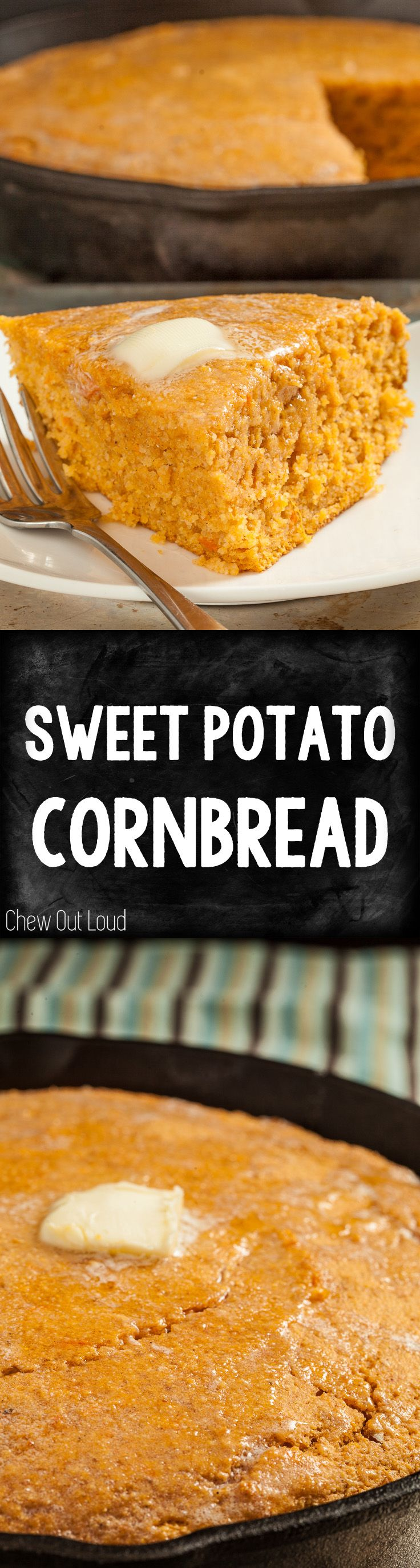 Sweet Potato Cornbread is holiday perfect! Plus an extra dose of nutrition. So moist 'n delish. #holiday #fall #side