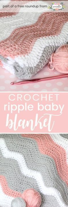 Crochet this easy beginner ripple chevron baby blanket from Daisy Cottage Designs from my best free crochet baby blankets for girls roundup!