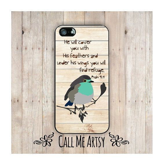 Psalm 91:4 is a scripture verse of comfort. This bible verse iphone case features a sweet little bird and the words, He will cover you with His