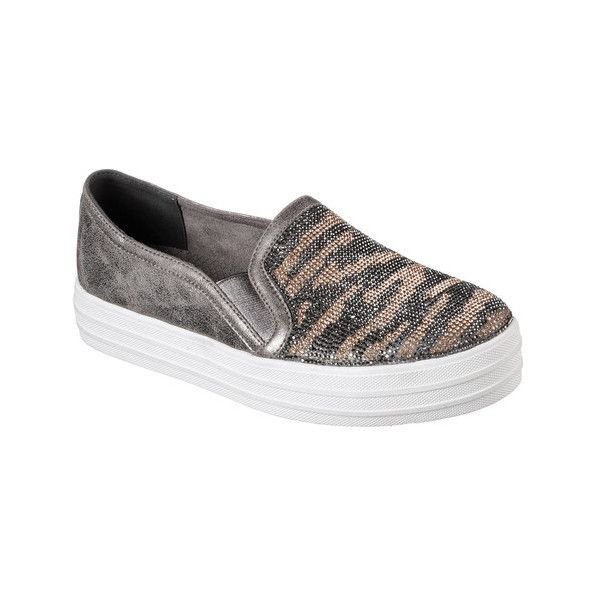 Women's Skechers Double Up Natural Instinct Slip-On Sneaker ($38) ❤ liked on Polyvore featuring shoes, sneakers, black, casual, platform shoes, glitter platform sneakers, platform sneakers, black platform sneakers, platform slip-on sneakers and glitter sneakers