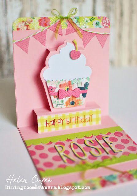 The Dining Room Drawers Karen Burniston Cupcake Pop Up Birthday Card