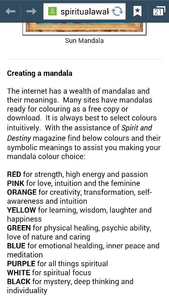 Mendala color meanings
