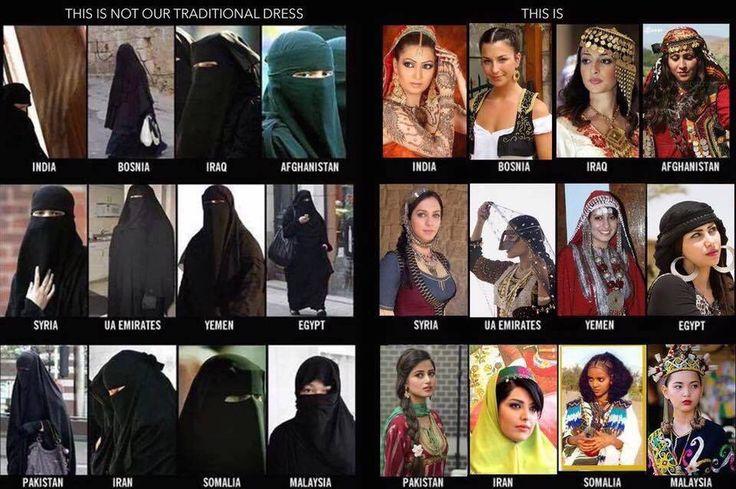 """Pour tous les imposteurs islamistes qui veulent faire passer le hijab ou le niqab comme un voile traditionnel :  voici les vêtements traditionnels des pays du """"monde musulman"""" - klederdracht"""
