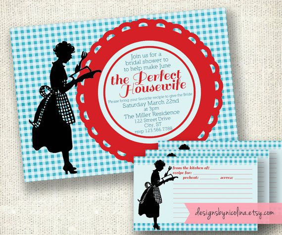 Perfect Housewife Vintage Retro and Red Bridal Shower PRINTABLE Invitation - and Matching Recipe Card. $13.50, via Etsy.