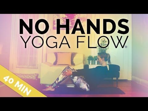 No Hands Yoga Flow comes in handy whether you're nursing a long or short-term upper body injury. Great for arthritis, wrist injury, or when you're in a cast and need to center and gently tone with some restorative yoga. Beautifully led and breathing-focused adaptive sequence.