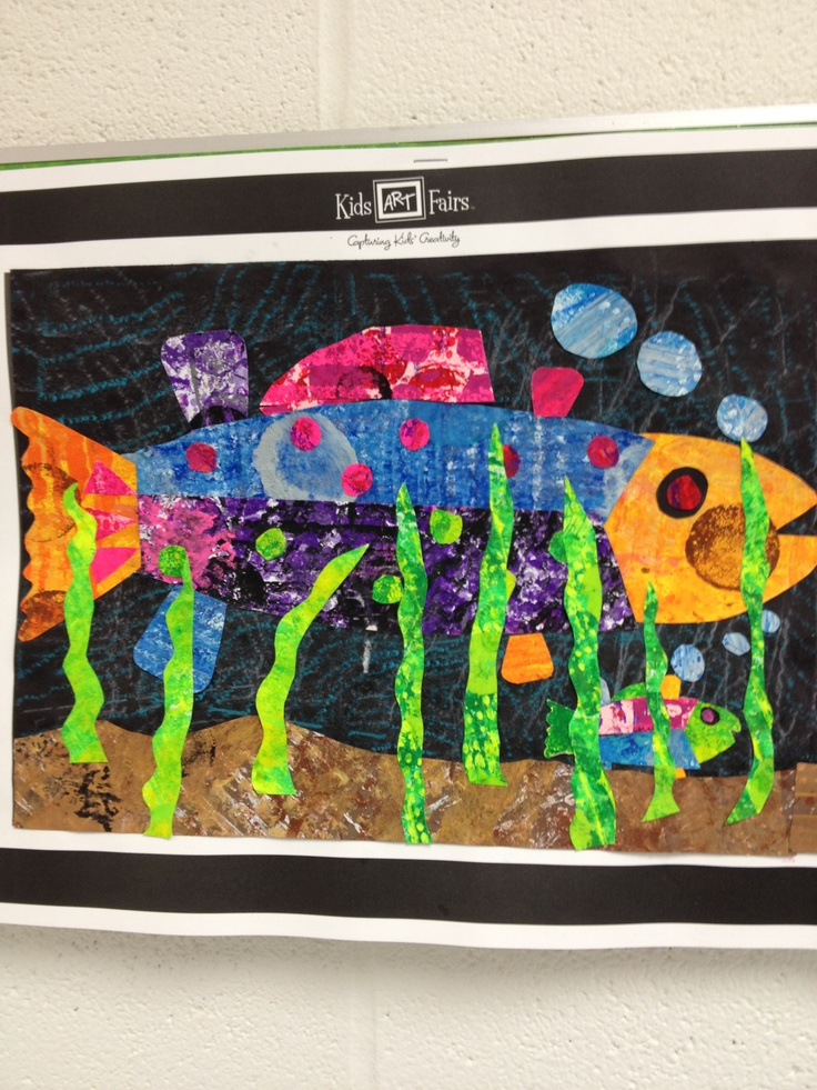 4th grade fish collage in the style of book illustrator Eric Carle. Printmake paper on day 1. Collage on day & & 3.