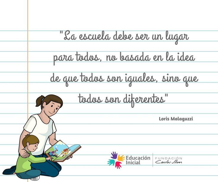 """""""La #Escuela debe ser un lugar para todos, no basada en la idea de que todos son iguales, sino que todos son diferentes""""    #Estancia #Guarderia #Centro #Infantil #Niños #Educadora #Educador #Individualidad #Frase #BuenTrabajo #Ideas"""