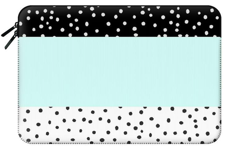 FOR AMANDA - Casetify Macbook Air 13 in Macbook Sleeve - Black white teal watercolor polka dots pattern by Pink Water #Casetify