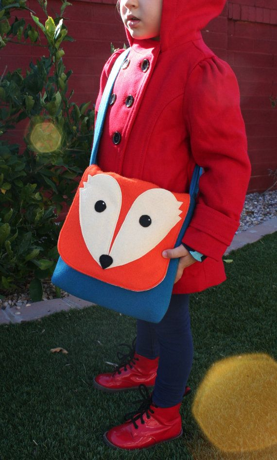 Sac Messenger sac Fox-petit laine Kids-sac sac à main - Woodland à Orange