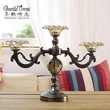 Tempo suave neo clássico europeu de alta qualidade de vidro três jóias de luxo enfeites de decoração da casa vela de aniversário de casamento(China (Mainland))