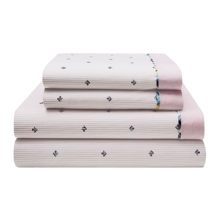 Tommy Hilfiger Harrington Monogram Cotton Rich Queen Size Sheet Set