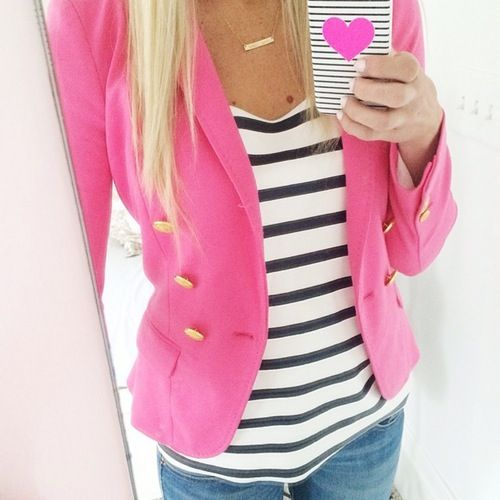Hot pink blazer + striped tee + jeans. make this outfit best for you :) click the photo